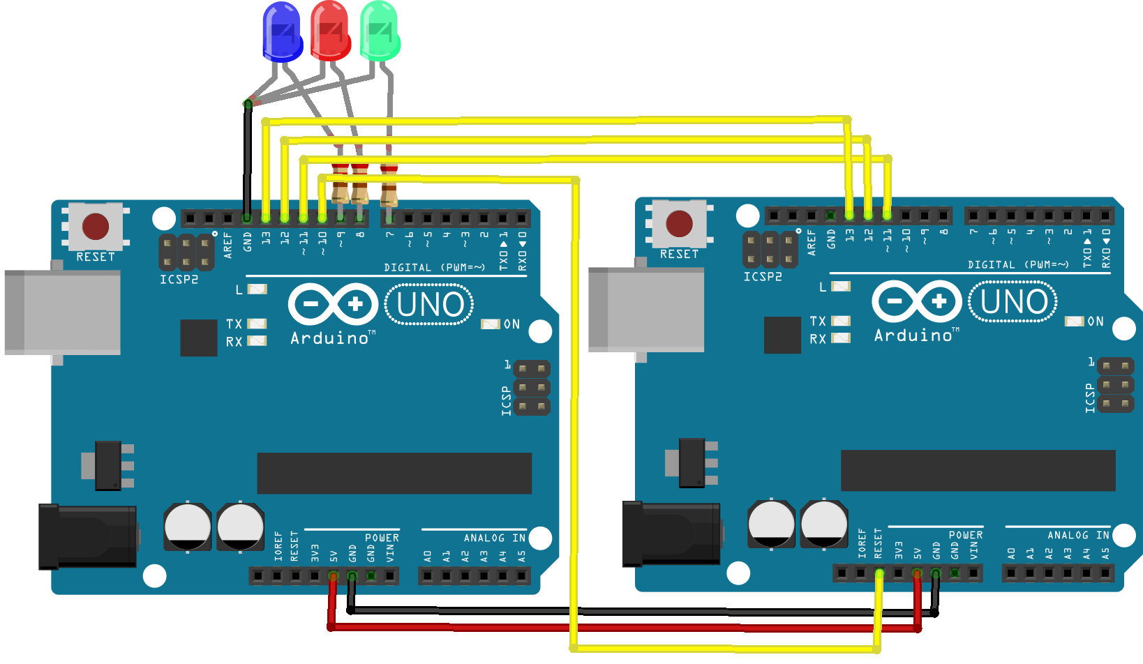 show the connection between two Arduinos. Pin 13-13, 12-12, 11-11, 10-rst, gnd-gnd, 5v-5v